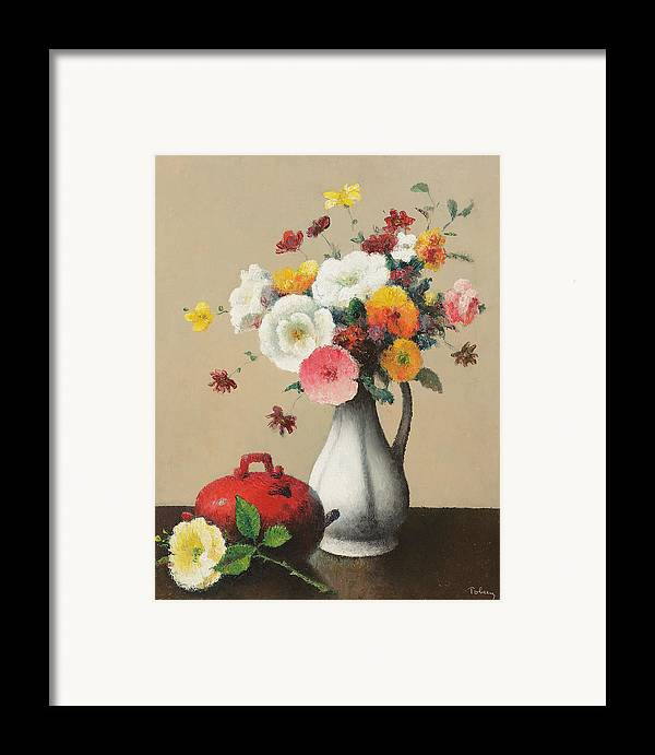 White Framed Print featuring the painting White Vase And Red Box by Felix Elie Tobeen