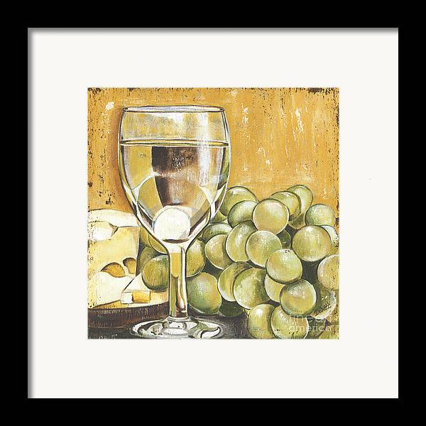 White Wine Framed Print featuring the painting White Wine And Cheese by Debbie DeWitt