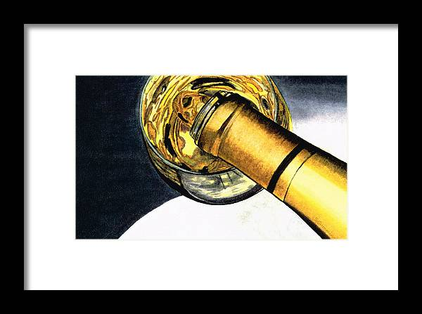 Wine Framed Print featuring the painting White Wine Art - Lap Of Luxury - By Sharon Cummings by Sharon Cummings