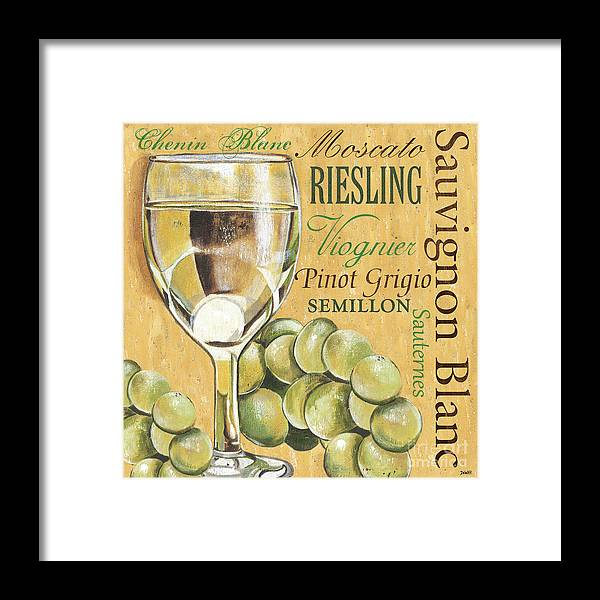 Wine Framed Print featuring the painting White Wine Text by Debbie DeWitt