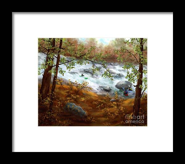 Whitewater Kayaking Framed Print featuring the painting Whitewater Kayaking by Judy Filarecki