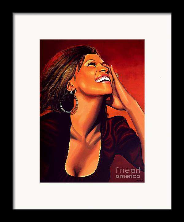Whitney Houston Framed Print featuring the painting Whitney Houston by Paul Meijering