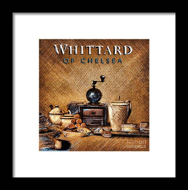 Whittard Of Chelsea Framed Print featuring the drawing Whittard Of Chelsea Tea Coffee And Drawings by Daliana Pacuraru