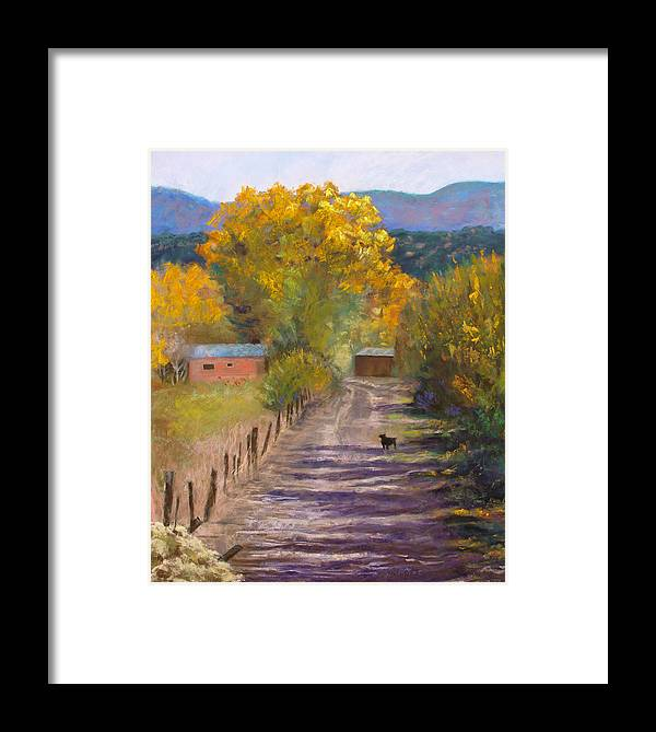Golden Cottonwoods Framed Print featuring the pastel Who Goes There? by Julie Maas