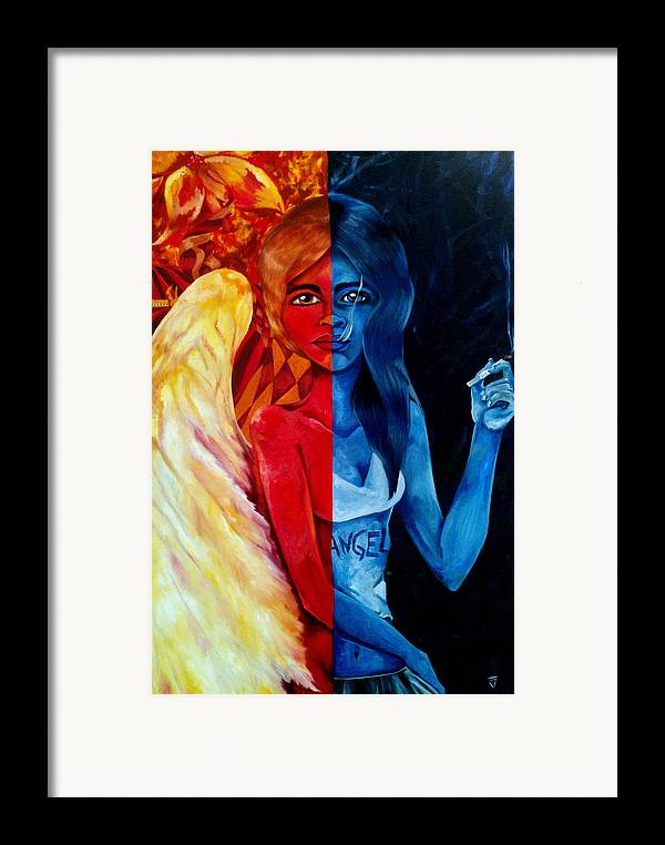 Angel Framed Print featuring the painting Who Is The Angel by Victoria Dietz