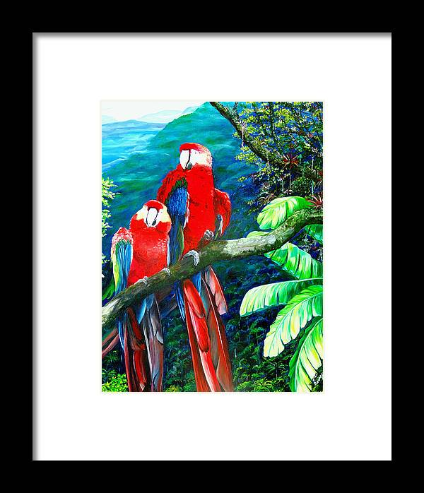 Caribbean Painting Green Wing Macaws Red Mountains Birds Trinidad And Tobago Birds Parrots Macaw Paintings Greeting Card  Framed Print featuring the painting Who Me  by Karin Dawn Kelshall- Best