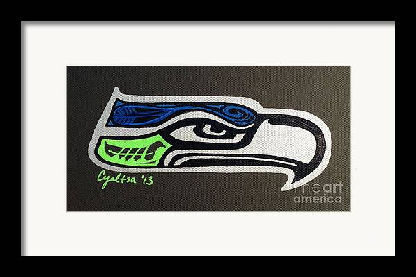 Seattle Seahawks Framed Print featuring the painting Who Ready by A Cyaltsa Finkbonner
