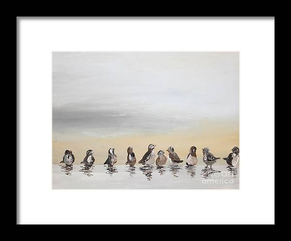Sparrow Framed Print featuring the painting Who Will Love A Little Sparrow by T Reich