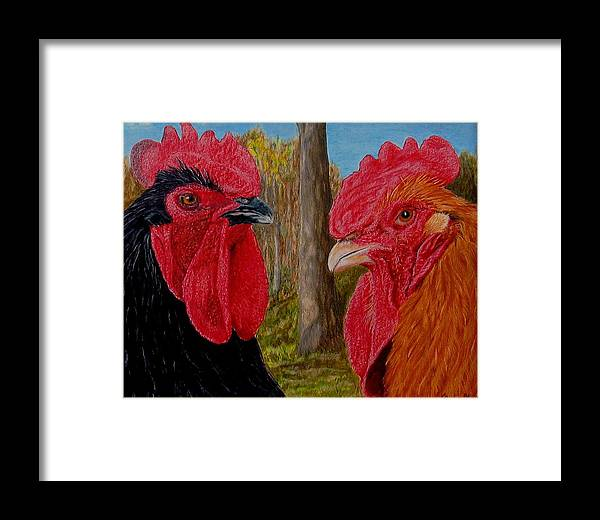 Roosters Framed Print featuring the painting Who You Calling Chicken by Karen Ilari