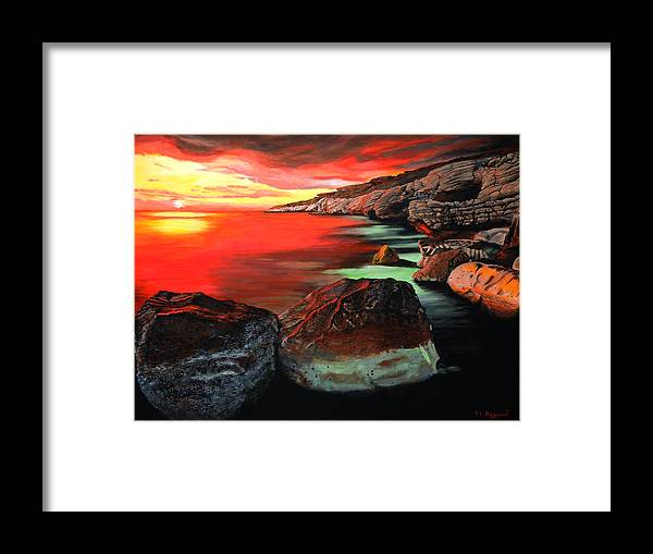 Seascape Framed Print featuring the painting Whispering Rocks by Malcolm Regnard