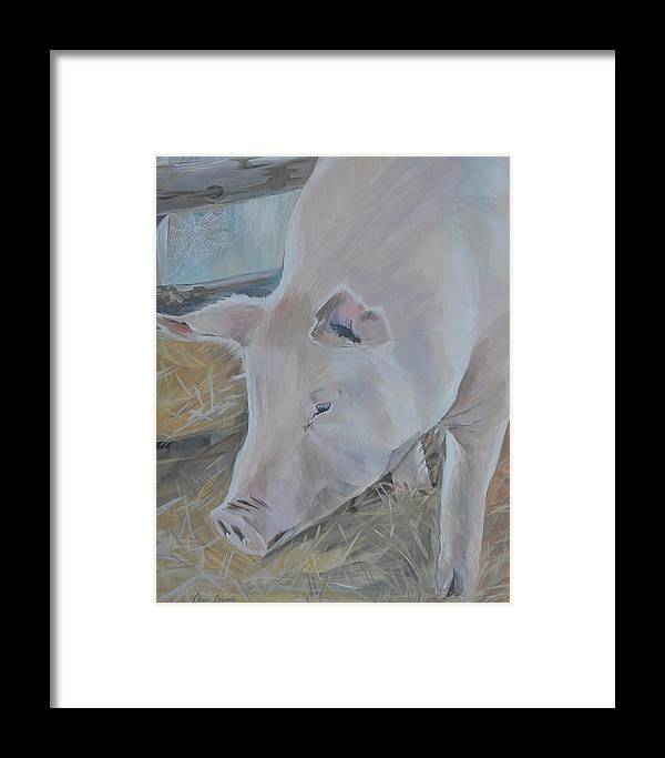 Farm Framed Print featuring the painting Wilbur by Elena Broach