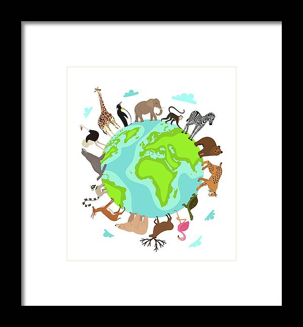 Continent Framed Print featuring the digital art Wild Animals Around Globe Banner by Alfazetchronicles