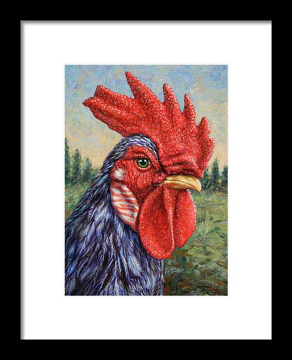 Rooster Framed Print featuring the painting Wild Blue Rooster by James W Johnson