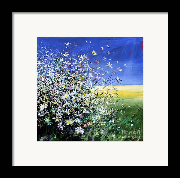 Daisies Framed Print featuring the painting Wild Daisies by Mario Zampedroni