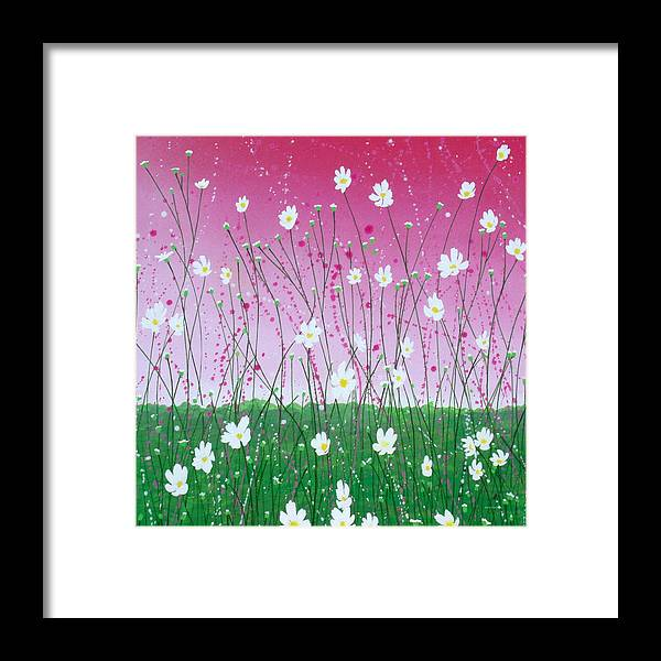 Abstract Framed Print featuring the painting Wild Daisy Field by Herb Dickinson