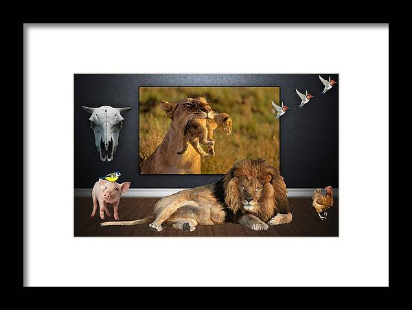 Lion Framed Print featuring the mixed media Wild Dreams by Marvin Blaine