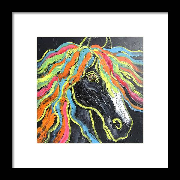 Isabelle Framed Print featuring the painting Wild horse by Isabelle Gervais