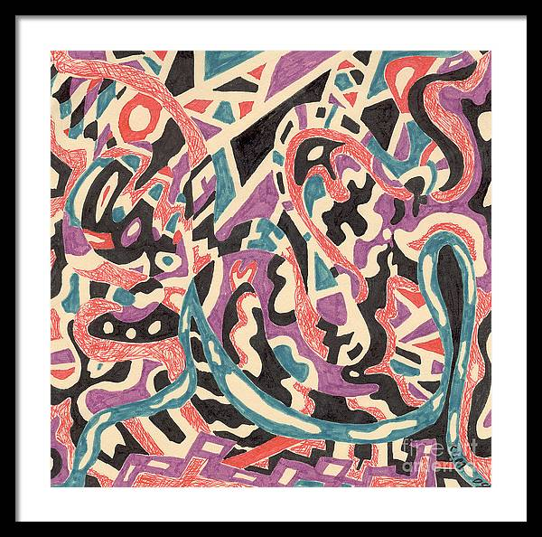 Wild Tribal Abstract Drawing Original Red Cream Black Teal Blue Purple Pattern Movement Rlmdesignes Framed Print featuring the drawing Wild by Rebekah McLeod