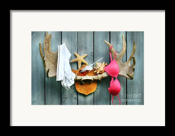 Antlers Framed Print featuring the digital art Wild Summer Cottage Weekend by Sandra Cunningham