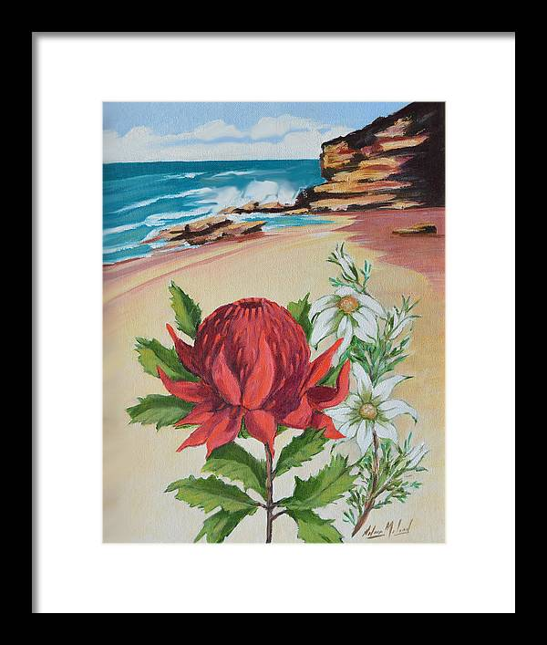 Wildflower Study Framed Print featuring the painting Wildflowers And Headland by Aileen McLeod
