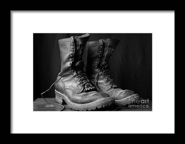 Boot Framed Print featuring the photograph Wildland Fire Boots Still Life by Kerri Mortenson