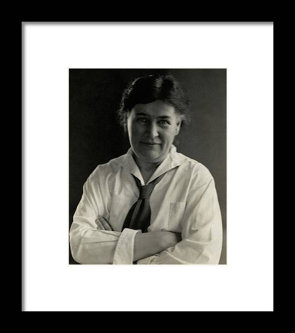 Fashion Framed Print featuring the photograph Willa Cather Wearing A Tie by Edward Steichen
