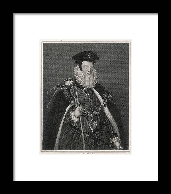 William Framed Print featuring the drawing William Cecil Lord Burghley Statesman by Mary Evans Picture Library