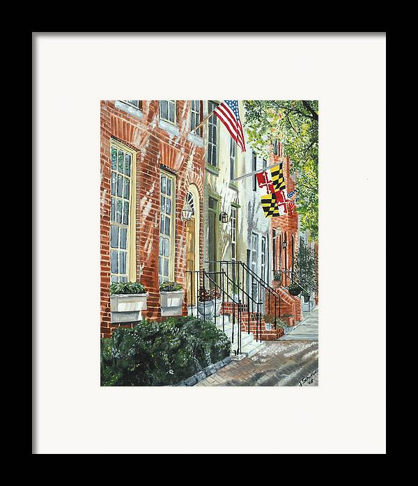 Baltimore Framed Print featuring the painting William Street Summer by John Schuller