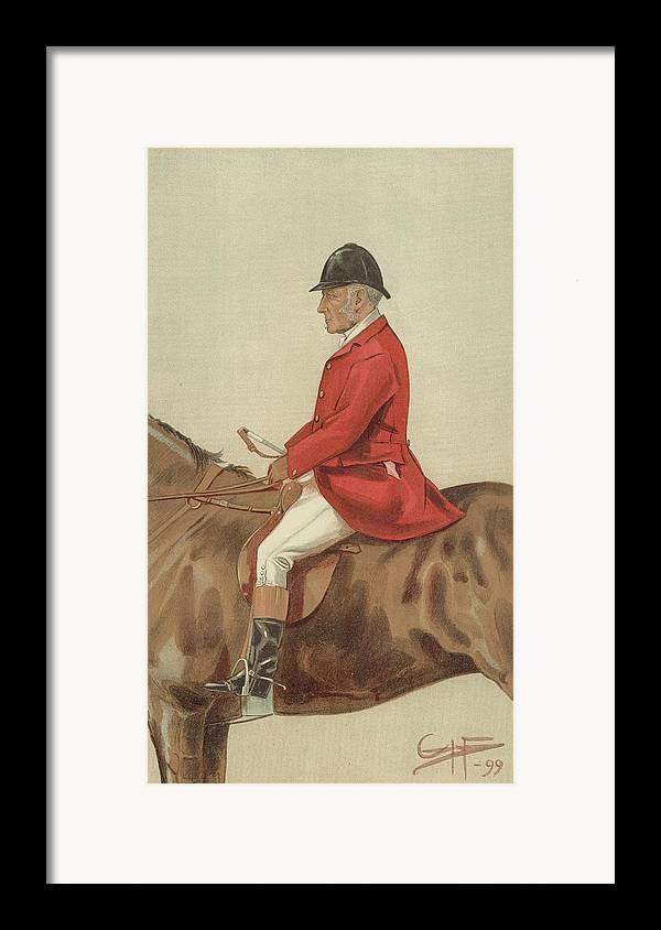 Caricature; William Ward Tailby; Leicestershire Man; 6 April 1899; Vanity Fair; Cartoon; Horse; Hunt; Hunting Framed Print featuring the painting William Ward Tailby by Sir Samuel Luke Fildes