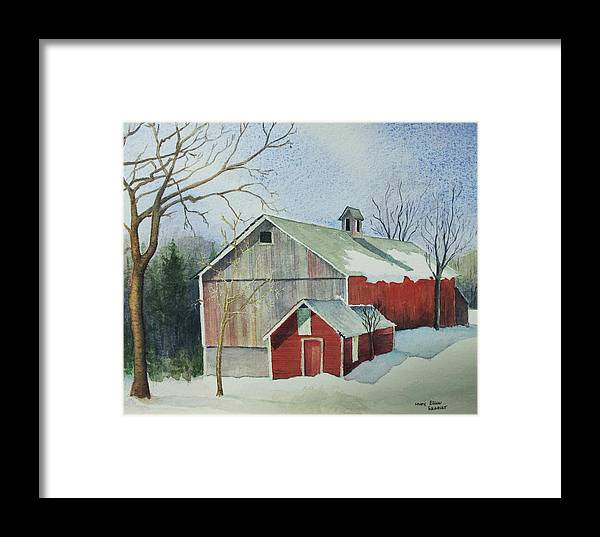 Christmas Card Framed Print featuring the painting Williston Barn by Mary Ellen Mueller Legault