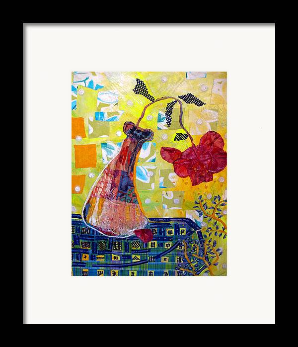 Flower In A Vase Framed Print featuring the mixed media Wilting Rose by Diane Fine
