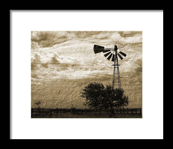 Sepia Framed Print featuring the photograph Wind Blown by Tony Grider