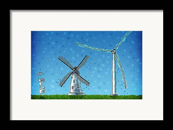 Abstract Framed Print featuring the drawing Wind Blows by Gianfranco Weiss