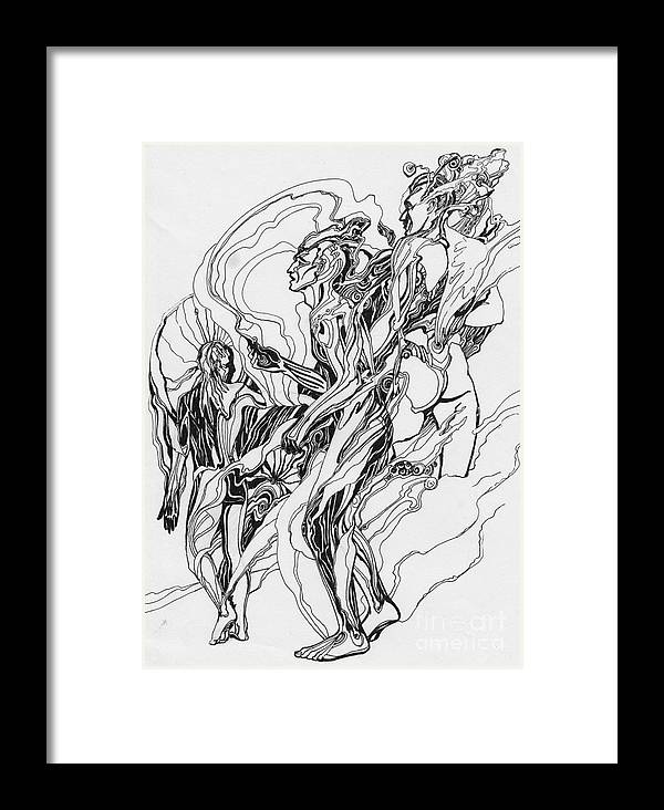 Wind Framed Print featuring the drawing Wind by Sergey Sovkov