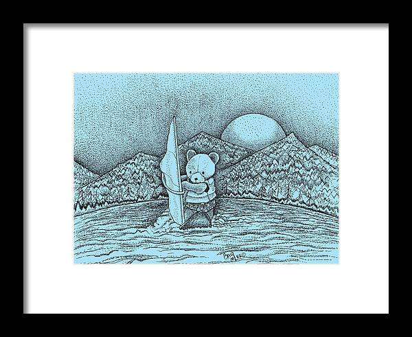 Windsurfing Framed Print featuring the drawing Wind Surfer by Brian Gilna