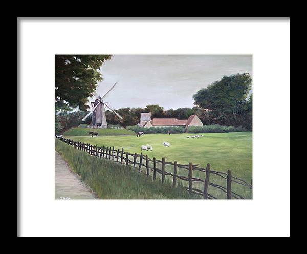 Farm Framed Print featuring the painting Windmill On Farm by Jennifer Lycke