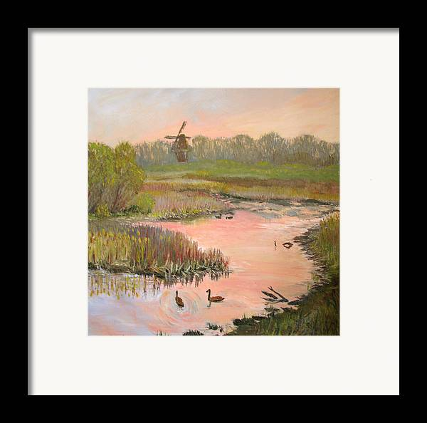 Landscape Framed Print featuring the painting Windmill On The Waterfront by Art Nomad Sandra Hansen