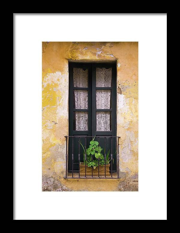 Cement Framed Print featuring the photograph Window And Wall Colonial Style by B-a-c-o