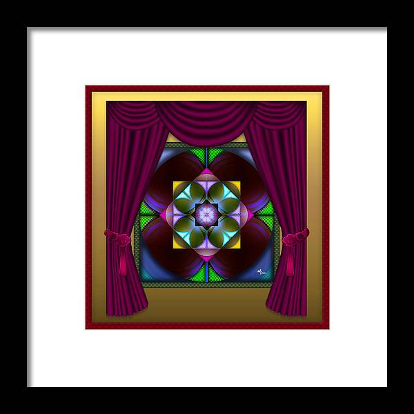 Geometric Abstract Framed Print featuring the digital art Window Dressing 2 by Warren Furman