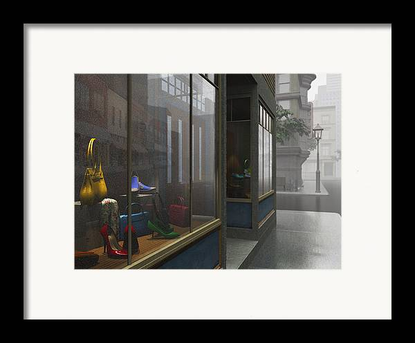 Gray Framed Print featuring the digital art Window Shopping by Cynthia Decker