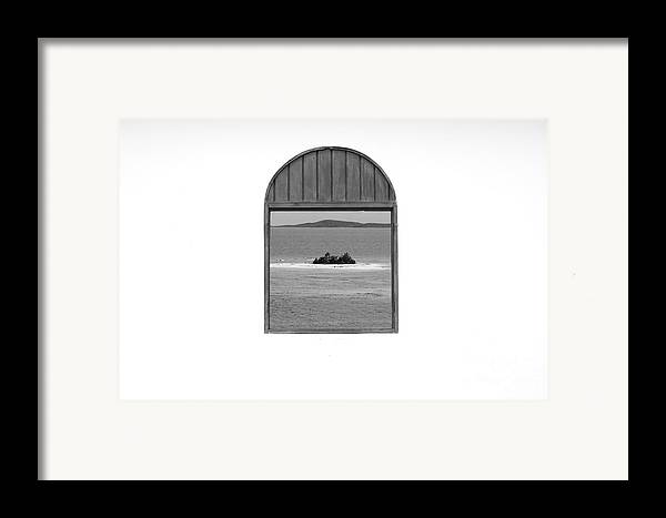Puerto Rico Framed Print featuring the photograph Window View Of Desert Island Puerto Rico Prints Black And White by Shawn O'Brien