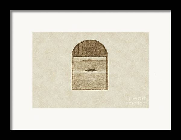 Puerto Rico Framed Print featuring the digital art Window View Of Desert Island Puerto Rico Prints Vintage by Shawn O'Brien
