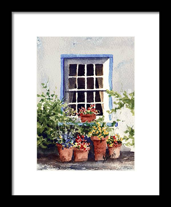 Window Framed Print featuring the painting Window With Blue Trim by Sam Sidders