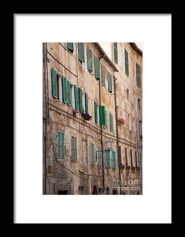Europe Framed Print featuring the photograph Windows In Tuscany by Amy Bynum