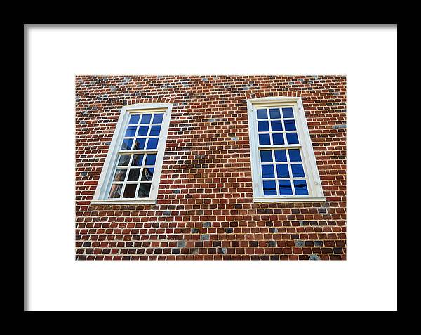 Buildings Framed Print featuring the photograph Windows With History by Mary Haber
