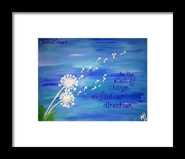 Dandelions Framed Print featuring the painting Winds Of Change by April Hammond