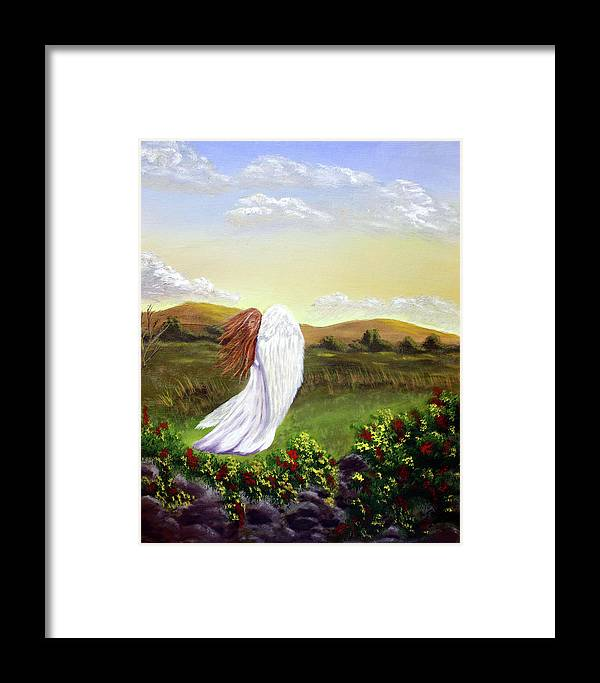 Angel Framed Print featuring the painting Windswept Angel by Dawn Blair