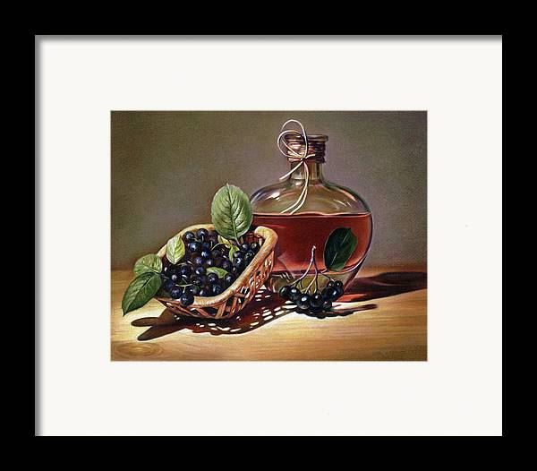 Wine Framed Print featuring the drawing Wine And Berries by Natasha Denger