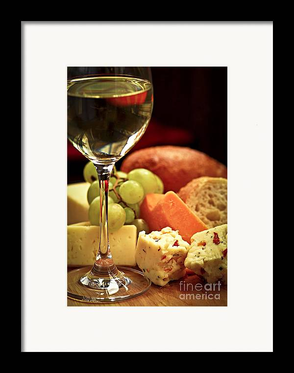 Cheese Framed Print featuring the photograph Wine And Cheese by Elena Elisseeva