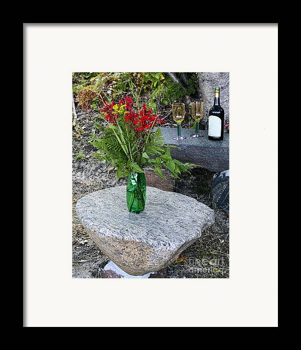 Red Framed Print featuring the photograph Wine And Red Flowers On The Rocks by Les Palenik
